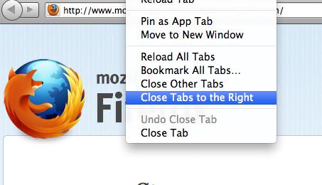 Zamykanie zakładek po prawej w Firefox